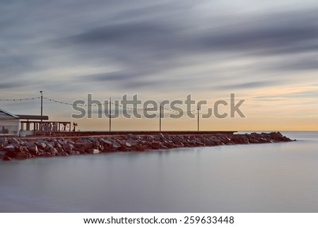 Coastline of Barcelona, long exposure picture. - stock photo