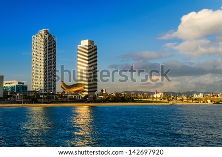 Coastline of Barcelona, Spain - stock photo