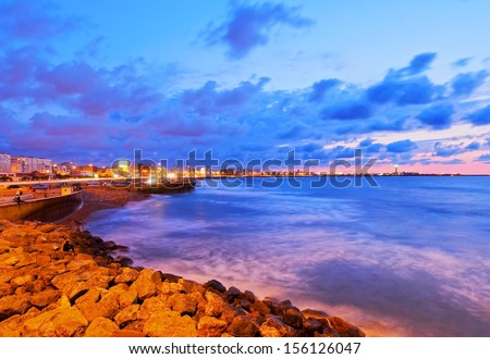 Coastline of Casablanca during sunset in Morocco, Africa