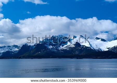 Coastline of Lofoten Islands in Norway - stock photo