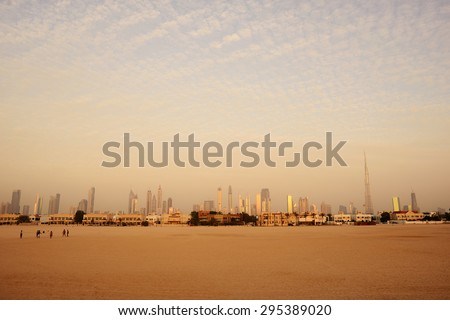 Coastline of popular Jumeira beach in Dubai. - stock photo