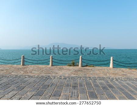 coastline of road - stock photo