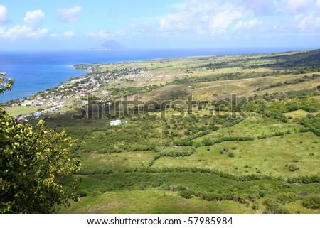 Coastline of Saint Kitts from Brimstone Hill - stock photo