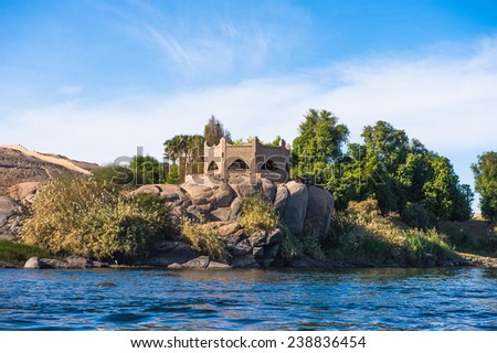 Coastline of the Nile river part called First Cataract, Aswan, Egypt - stock photo
