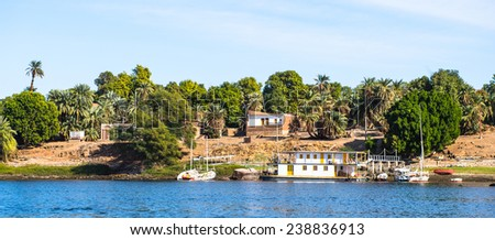 Coastline of the Nile river part called First Cataract, Aswan, Egypt