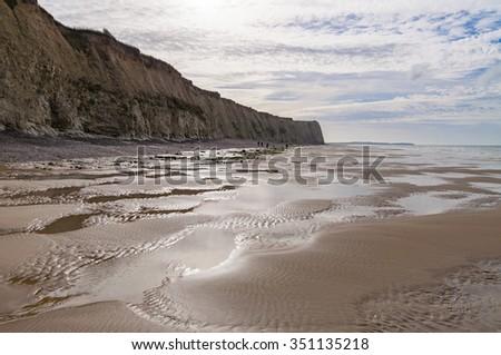 Coastline of the Opal Coast (Cote d'Opale) in Pas de Calais, France - stock photo