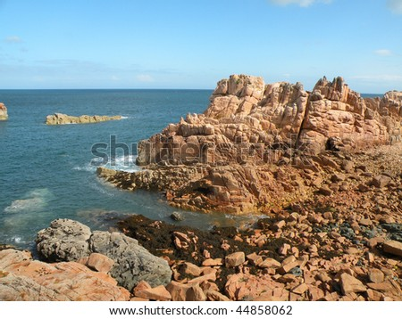 Coastline on the island of Brehat in France