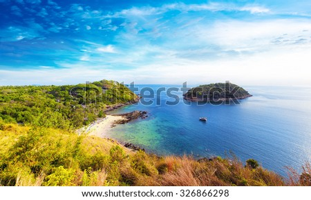 Coastline panoramic view of southern part of Phuket island in Thailand - stock photo