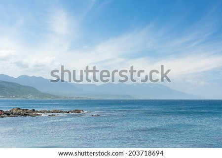 Coastline scenery of coral reefs and waves in Sanxiantai, Chenggong Township, Taitung County, Taiwan, Asia. - stock photo