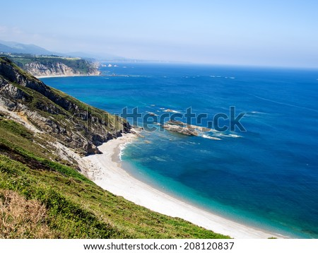 Coastline view in Vidio Cap located in Cudillero village area, Asturias community, Spain.