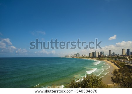 Coastline view of Tel-Aviv, viewed from Jaffa-medieval part of the city. Jaffa was port in ancient times. - stock photo