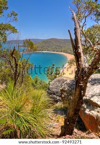 Coastline vista, with azure blue water, New South Wales, Australia - stock photo