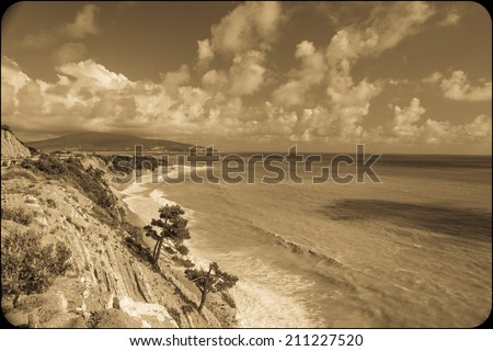 coastline with beautiful rocky cliffs and pine trees, Black Sea - stock photo
