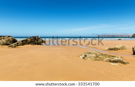 Coastline with waves of the sea on the sandy summer beach, Portugal - stock photo