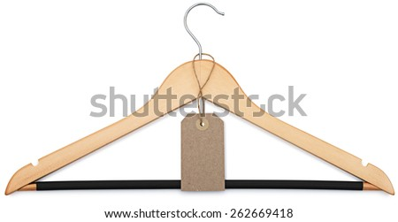 coat hanger and blank price tag isolated on white background with clipping paths - stock photo