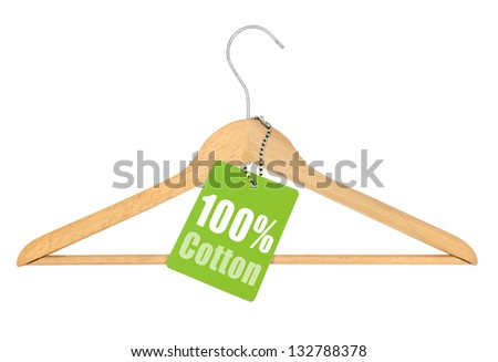 coat hanger with hundred percent cotton tag isolated on white background - stock photo