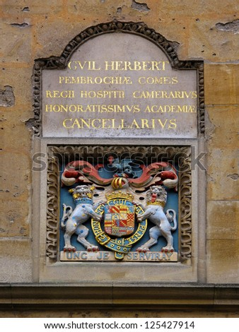 Coat of Arms in University of Oxford, UK. Sign is dedicated to William Herbert (1580-1630) 3rd Earl of Pembroke. In 1624 Pembroke College was renamed after him. - stock photo