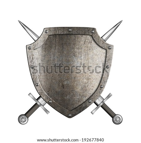 coat of arms knight metal shield with crossed swords isolated on white - stock photo