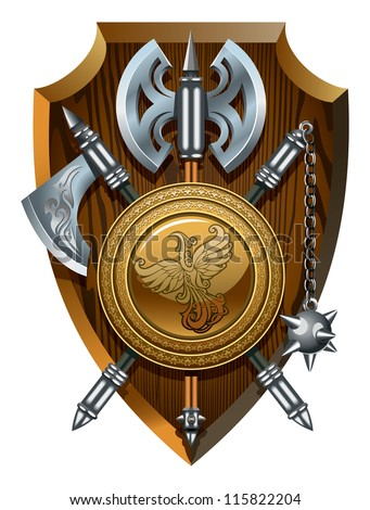 Coat of arms: labrys, axe, morgenstern and shield, hi-res raster from vector illustration - stock photo