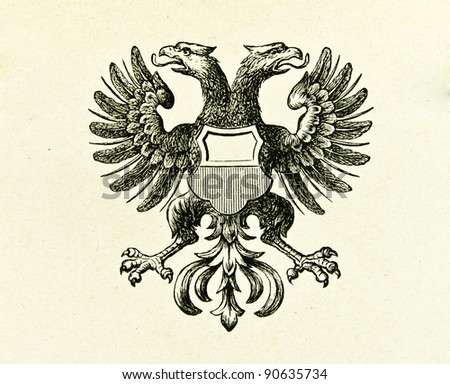 "Coat of arms of Free City Lübeck. Illustration by Alwin Zschiesche, published on ""Illustrierts Briefmarken Album"", Leipzig, 1885. - stock photo"