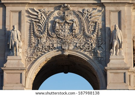 Coat of arms of Portugal on Rua Augusta Arch in Lisbon, Portugal. - stock photo