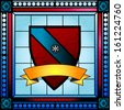 Coat of arms or crest stained glass window with blank scroll banner - stock photo