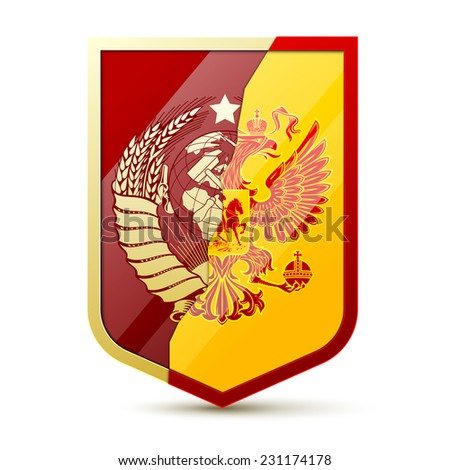 Coat of arms Soviet Union and Russia - stock photo