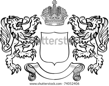 Coat of arms with two lions - stock photo