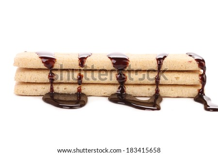 Coated cookies of chocolate. Isolated on a white background. - stock photo