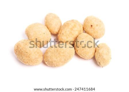 Coated peanuts isolated on white background - stock photo