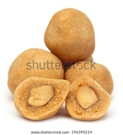 Coated Peanuts over white background - stock photo