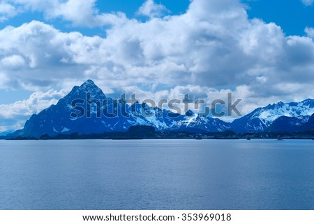 Coatline of Lofoten in Norway - stock photo