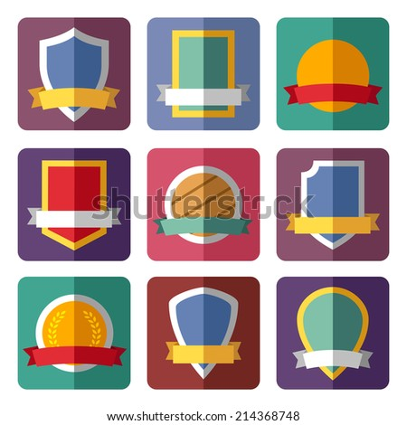 Coats of arms, shields, ribbons, flat design - stock photo
