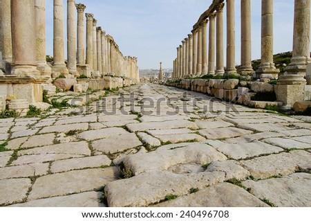 Cobble Path - Jerash Ruins - Amman - Jordan - stock photo