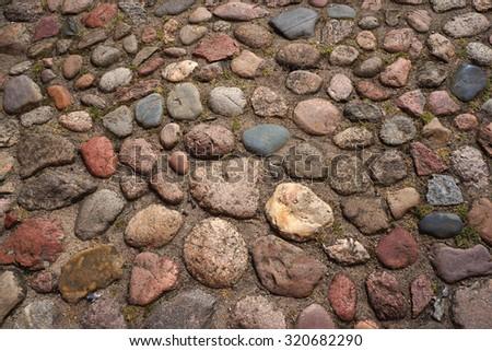 Cobble-stones roadway. - stock photo