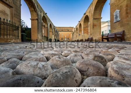 Cobbled Walkway in Upper Barrakka Gardens in Valletta, Malta - stock photo
