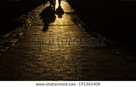 Cobblestone alley in Charleston, SC, with shadows at sunset. - stock photo