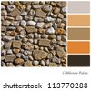 Cobblestone background colour palette with complimentary swatches. - stock photo