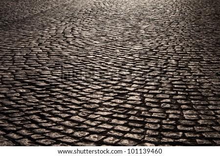Cobblestone road - stock photo
