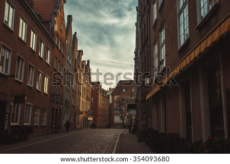 cobblestone streets of old Europe Gdansk