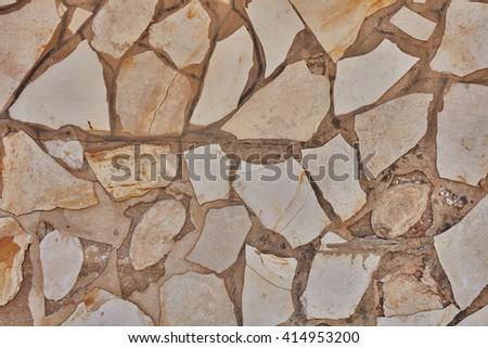 Cobblestone wall in Jerusalem - stock photo