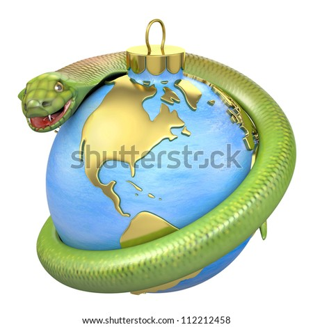 Cobra on a christmas bauble, America part, isolated on white background - stock photo