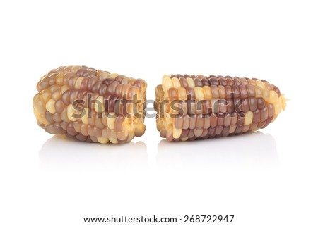 Cobs of corn isolated on a white background