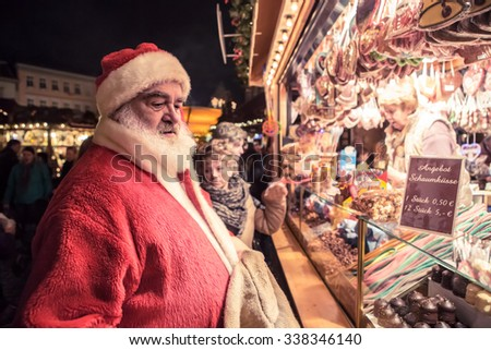 COBURG, BAVARIA, GERMANY - December  2014: Scenes of Christmas market in Coburg - stock photo
