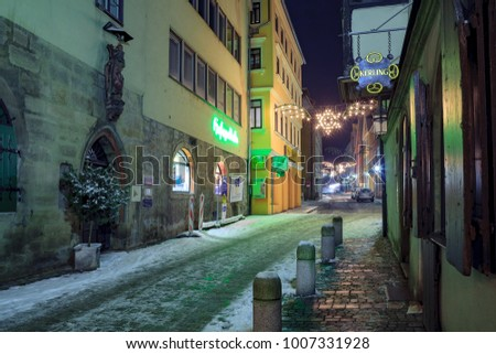 COBURG, GERMANY - CIRCA JANUARY, 2010: Wintry streets of Coburg by night, Bavaria, Germany.
