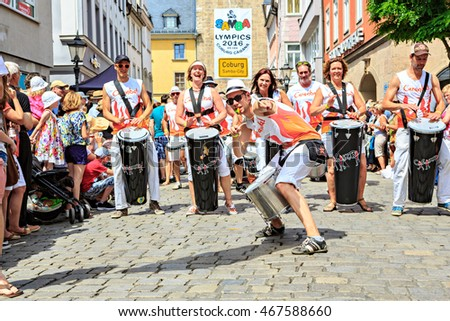 COBURG, GERMANY - JULY 10, 2016: An unidentified samba musician participates at the annual samba festival in Coburg, Germany