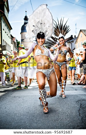 COBURG, GERMANY - JULY 11: Unidentified female samba dancer participates at the annual samba festival in Coburg, Germany on July 11, 2010.