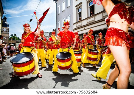 COBURG, GERMANY - JULY 11: Unidentified samba musicians participates at the annual samba festival in Coburg, Germany on July 11, 2010. - stock photo
