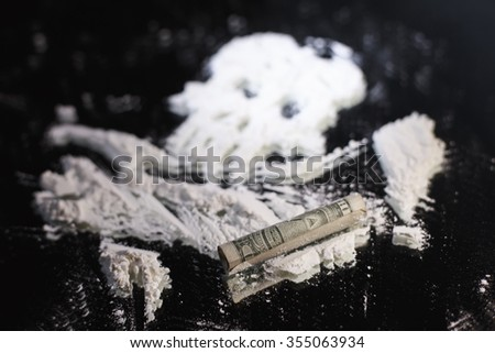 cocaine arranged in the shape of skull - stock photo