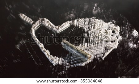 cocaine arranged in theme valentins day - stock photo